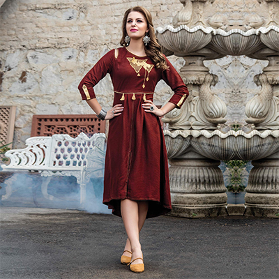Attractive Brown Designer Embroidered Art Silk Kurti