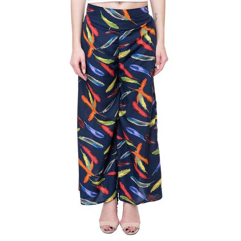 OMADAM - Navy Blue Colored Casual Feather Printed Crepe Palazzo