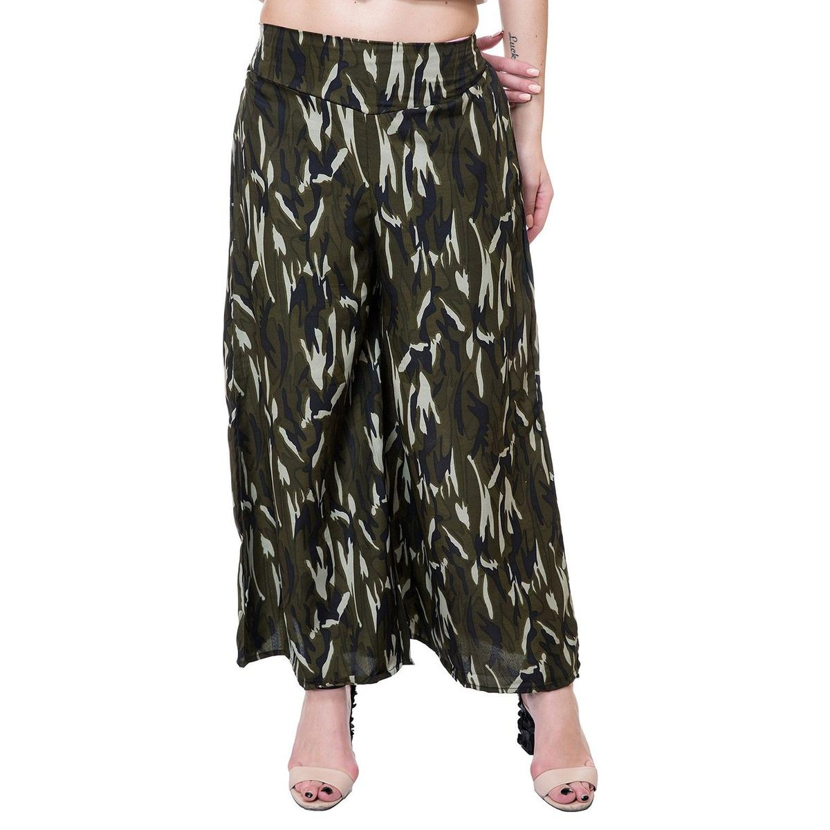 OMADAM - Olive Green Colored Casual Printed Crepe Palazzo