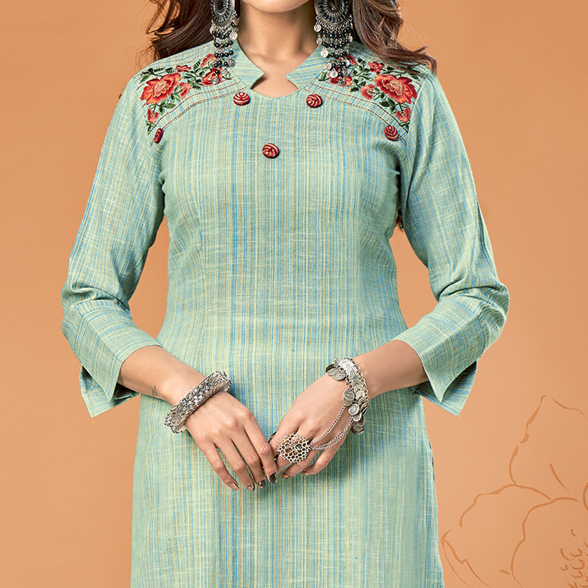 Intricate Green Colored Party Wear Embroidered Cotton Kurti
