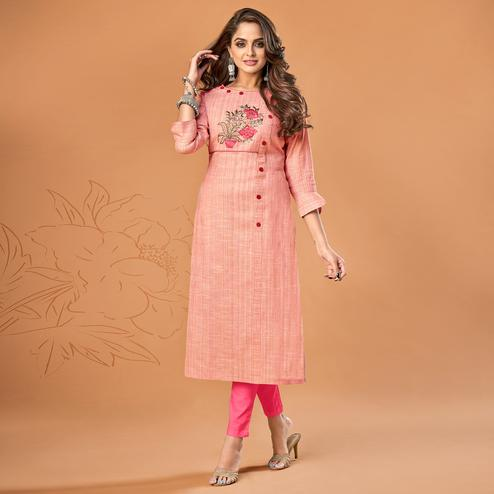Arresting Peach Colored Party Wear Embroidered Cotton Kurti