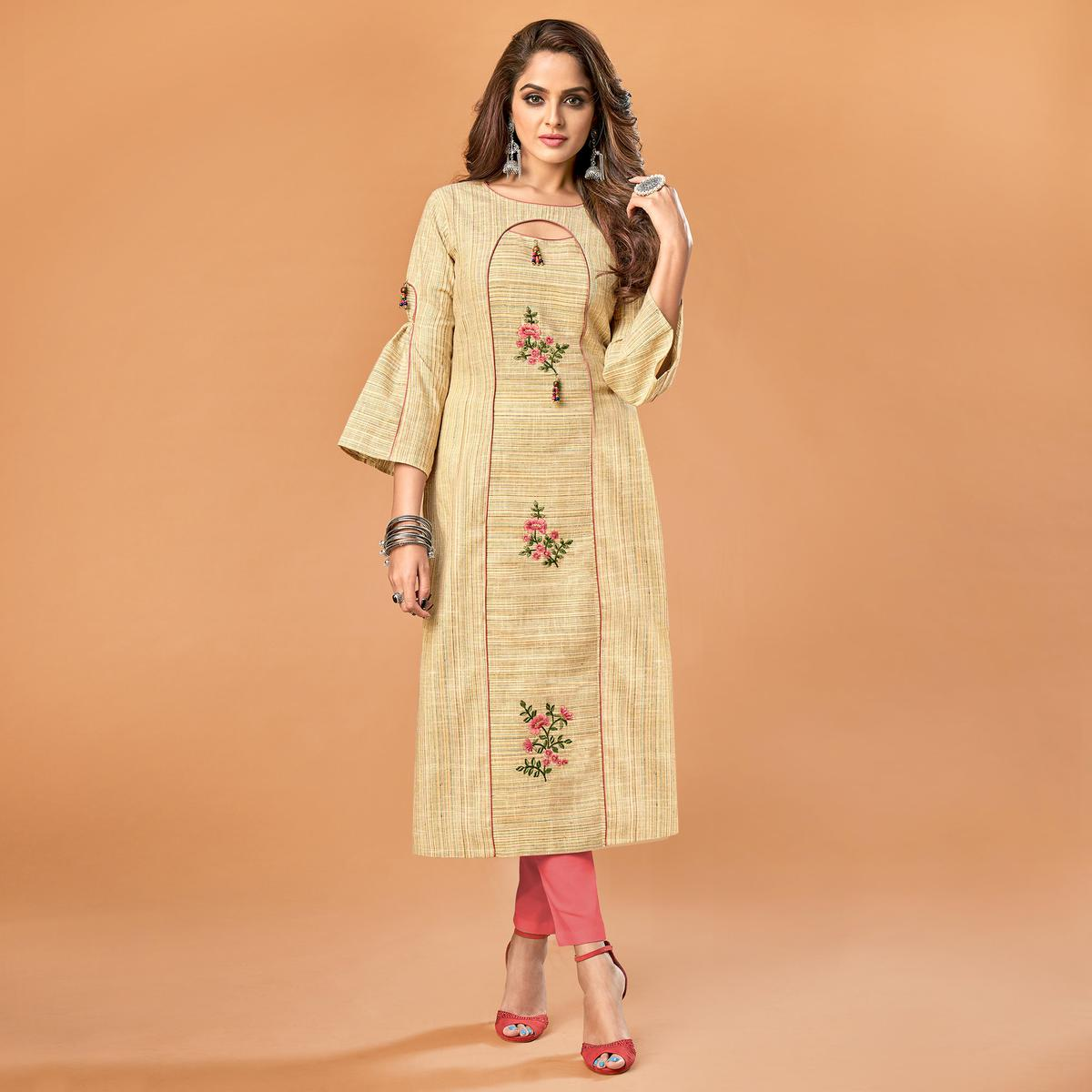 Desirable Beige Colored Party Wear Embroidered Cotton Kurti