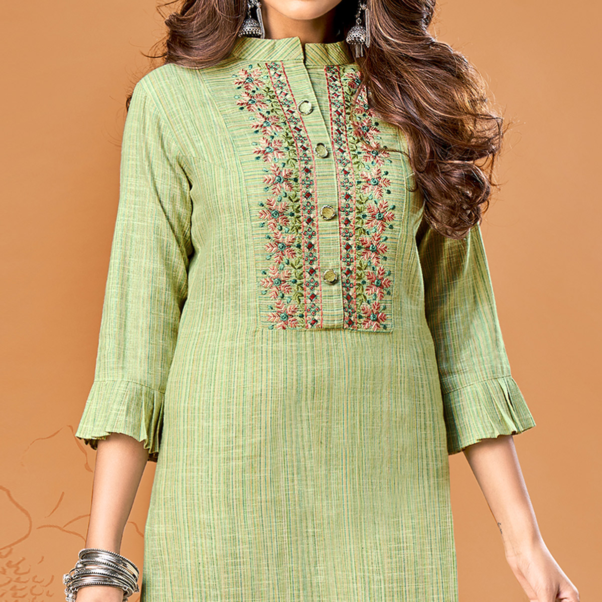 Exotic Green Colored Party Wear Embroidered Cotton Kurti