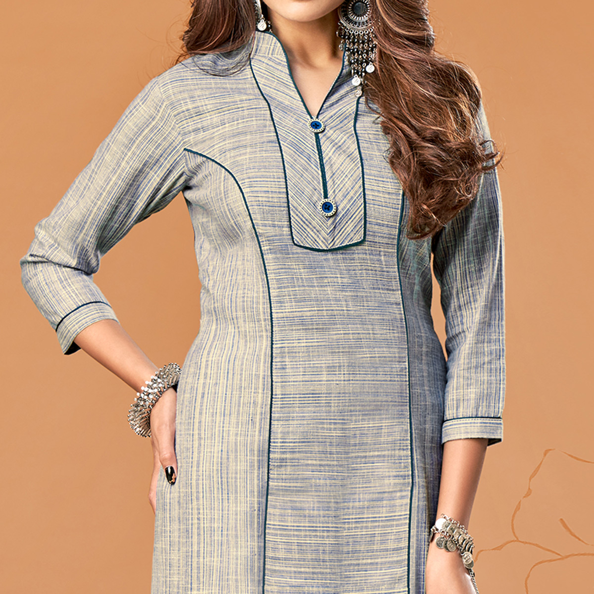 Pleasant Grey Colored Party Wear Embroidered Cotton Kurti