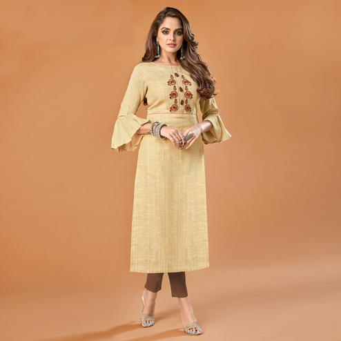 Opulent Beige Colored Party Wear Embroidered Cotton Kurti