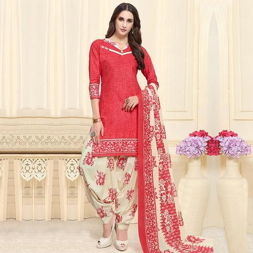 Adorable Red Colored Casual Wear Printed Cotton Patiala Dress Material