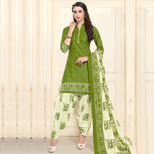 Beautiful Green Colored Casual Wear Printed Cotton Patiala Dress Material