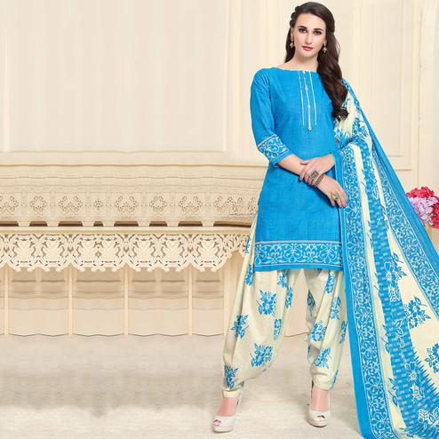 Graceful Blue Colored Casual Wear Printed Cotton Patiala Dress Material