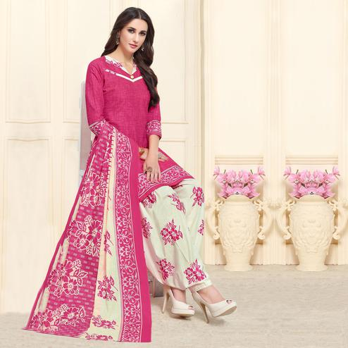 Blooming Pink Colored Casual Wear Printed Cotton Patiala Dress Material