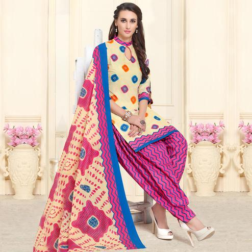 Jazzy Cream-Pink Colored Casual Wear Printed Cotton Patiala Dress Material