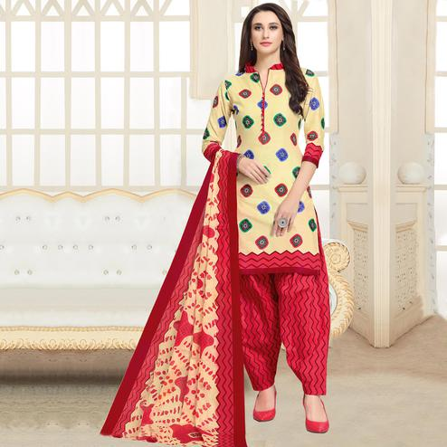Engrossing Cream-Red Colored Casual Wear Printed Cotton Patiala Dress Material