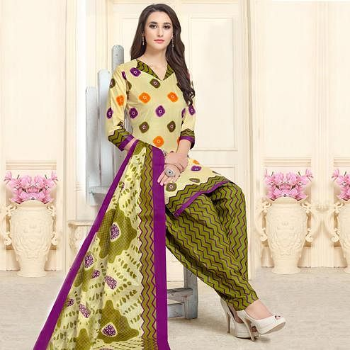 Captivating Cream-Olive Green Colored Casual Wear Printed Cotton Patiala Dress Material