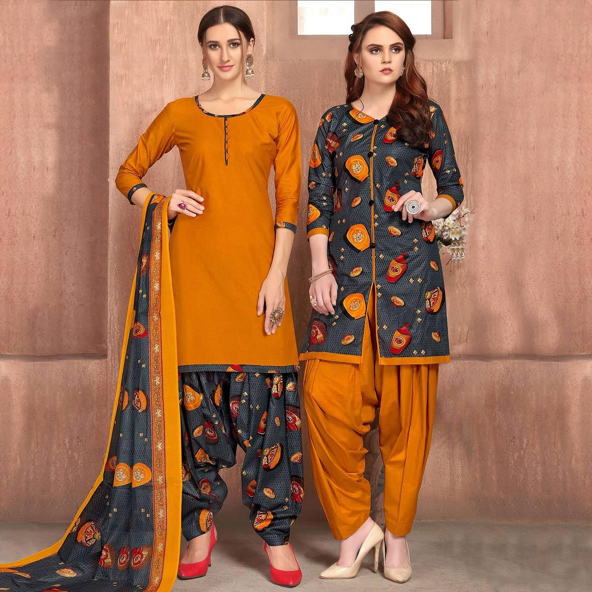 Excellent Mustard Yellow-Grey Colored Casual Wear Printed Cotton Patiala Dress Material