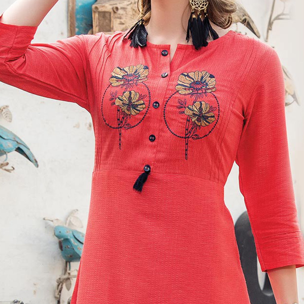 Hot Red Designer Embroidered Art Silk Kurti