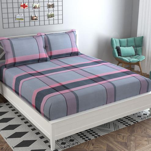 Adirav - Grey Colored Printed Cotton Double Bedsheet With 2 Pillow Cover