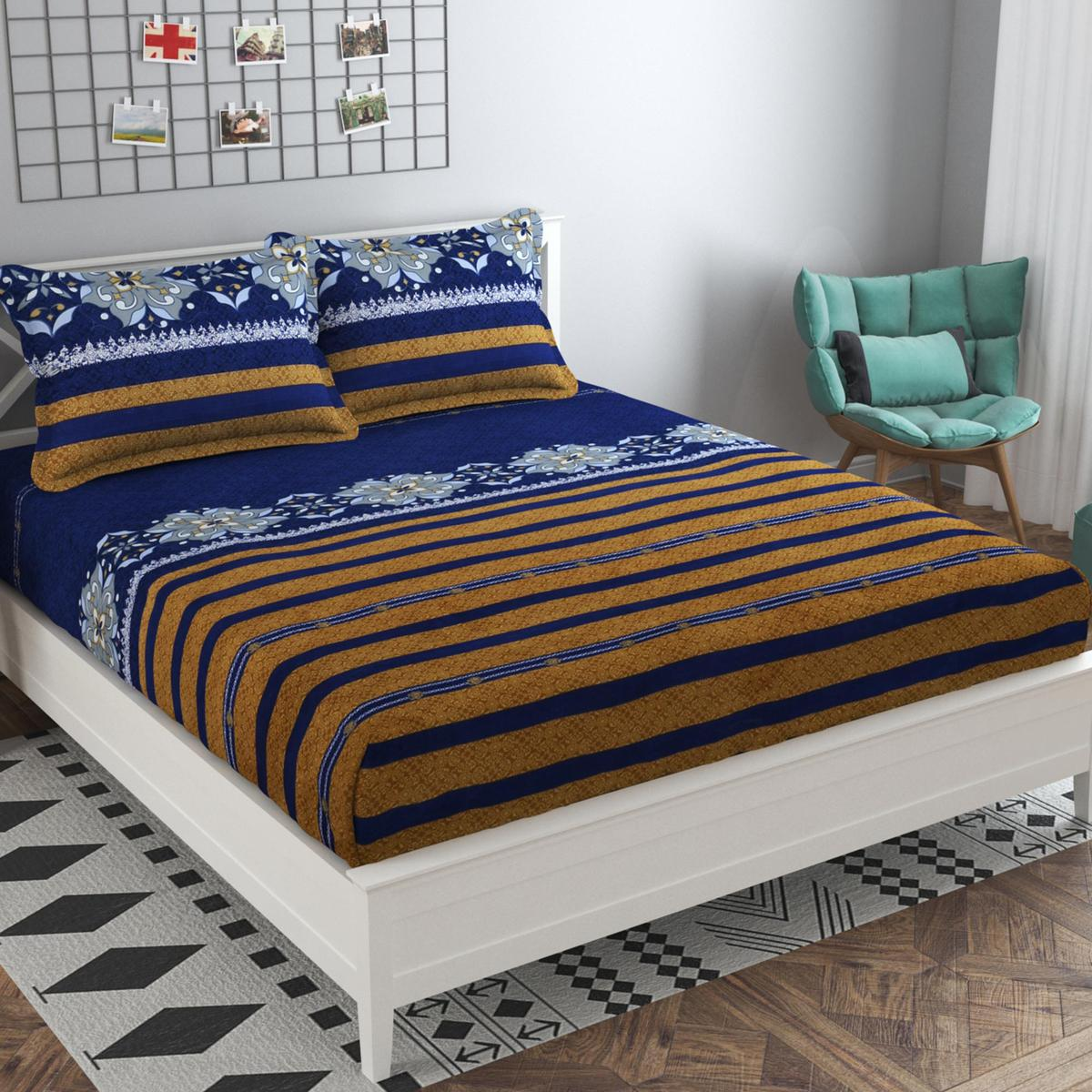 Adirav - Blue Colored Printed Cotton Double Bedsheet With 2 Pillow Cover
