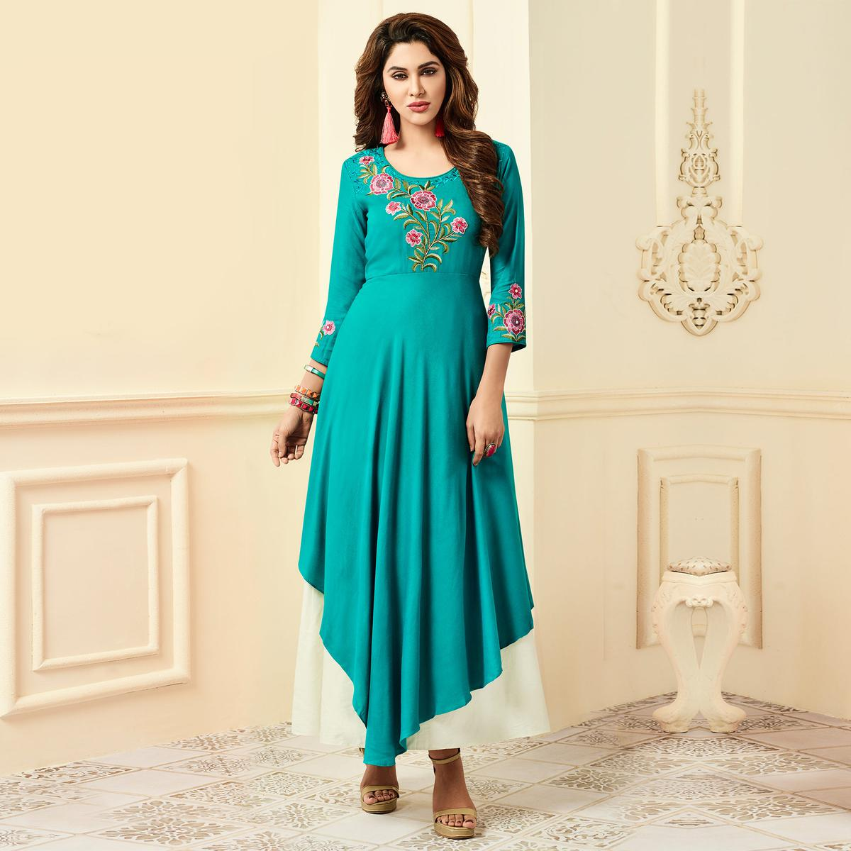 Graceful Teal Green Designer Partywear Embroidered Premium Rayon Gown