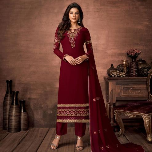 Graceful Maroon Colored Partywear Woven Georgette Straight Suit