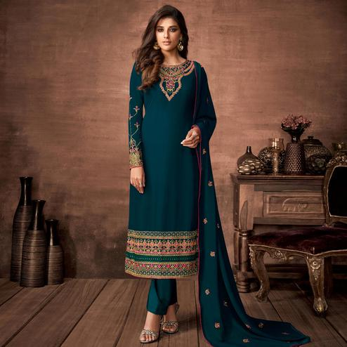 Blooming Sea Green Colored Partywear Woven Georgette Straight Suit
