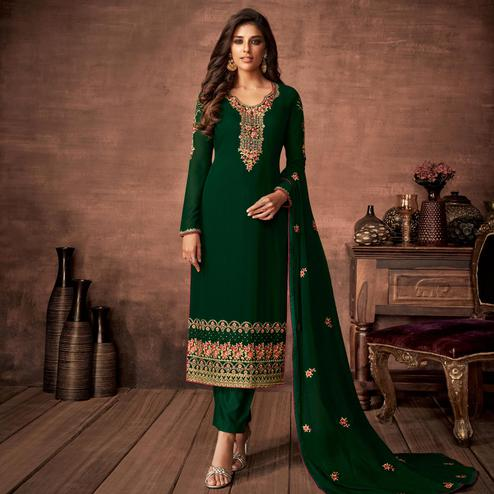 Jazzy Green Colored Partywear Woven Georgette Straight Suit