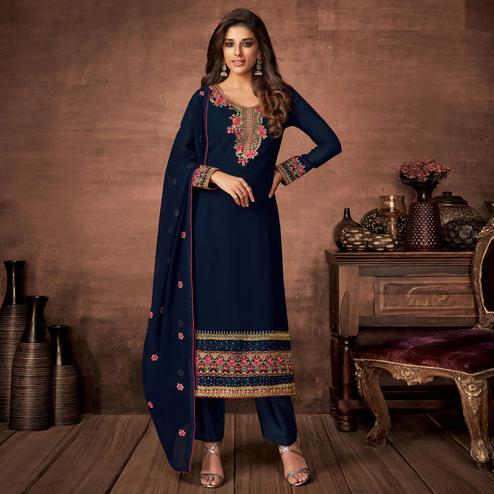 Delightful Navy Blue Colored Partywear Woven Georgette Straight Suit