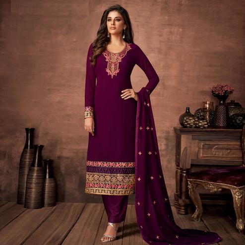Engrossing Purple Colored Partywear Woven Georgette Straight Suit