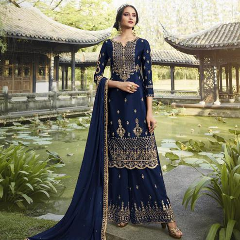 Amazing Blue Colored Partywear Embroidered Heavy Faux Georgette Palazzo Suit