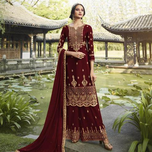 Blissful Maroon Colored Partywear Embroidered Heavy Faux Georgette Palazzo Suit