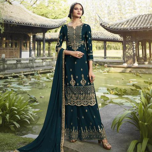 Ideal Rama Colored Partywear Embroidered Heavy Faux Georgette Palazzo Suit
