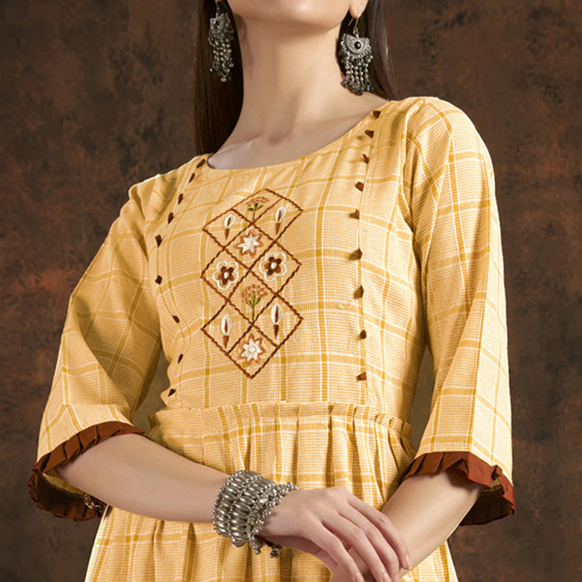 Sensational Yellow Colored Casual Printed Hand Embroidered Pure Cotton Kurti
