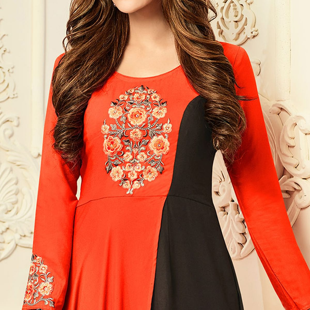 Flamboyant Orange-Brown Designer Partywear Embroidered Premium Rayon Gown