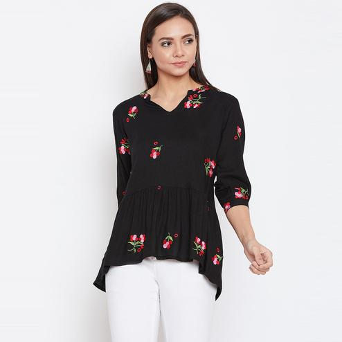 Aaru - Women's Black Colored Floral Embroidered Rayon Top