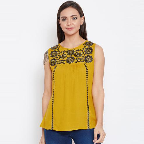 Aaru - Women's Mustard Colored Abstract Embroidered Rayon Top