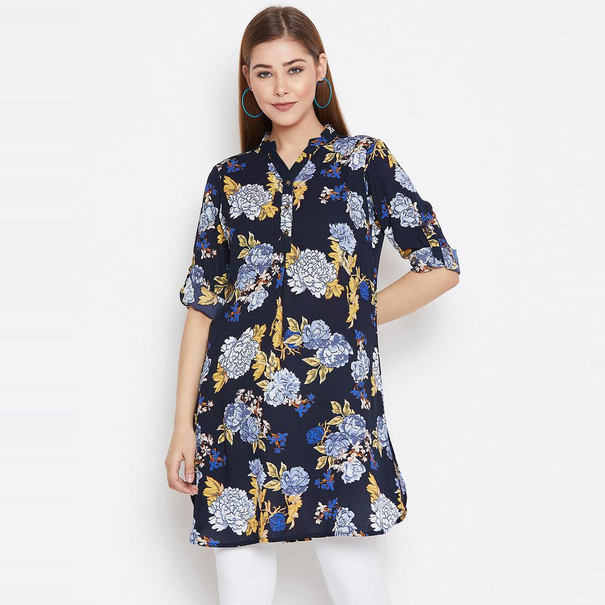 Aarudi Fashion - Women's Navy Blue Colored Floral Printed Crepe Tunic