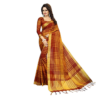 Maroon-Golden Festive Wear Art Silk Saree
