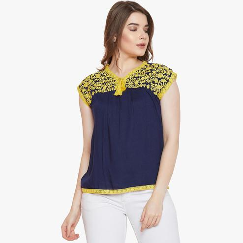 Aarudi Fashion - Women Navy Blue Color Embroidered Rayon Top