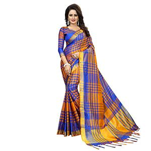 Royal Blue-Yellow Festive Wear Art Silk Saree