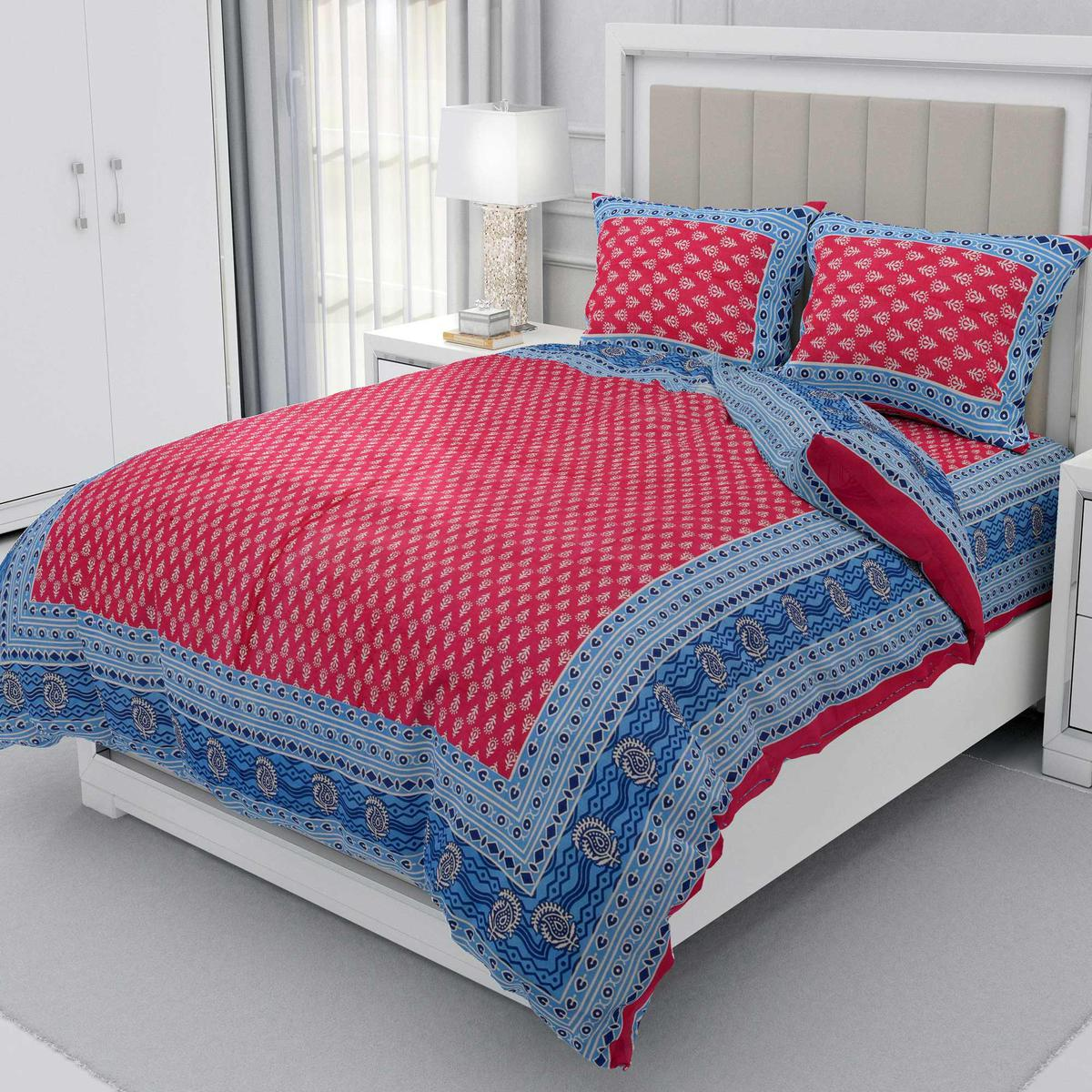 Zyla - Pink Colored Leaf Printed Double Queen Cotton Bedsheet