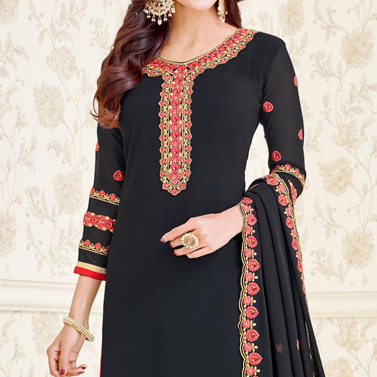 Black Long Length Embroidered Suit