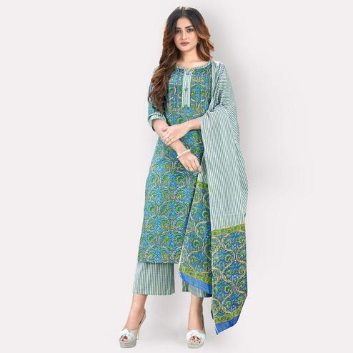Vbuyz - Women's Blue Colored Floral Printed & Hand Work Straight Cotton Kurti, Palazzo & Dupatta