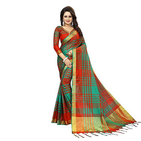 Red-Green Festive Wear Art Silk Saree