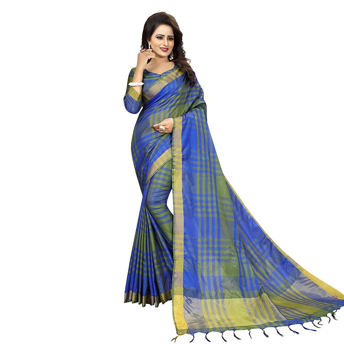 Blue Festive Wear Art Silk Saree