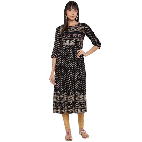 Vbuyz - Women's Dark Blue Colored Bandhani Print & Hand Work Anarkali Rayon Kurti