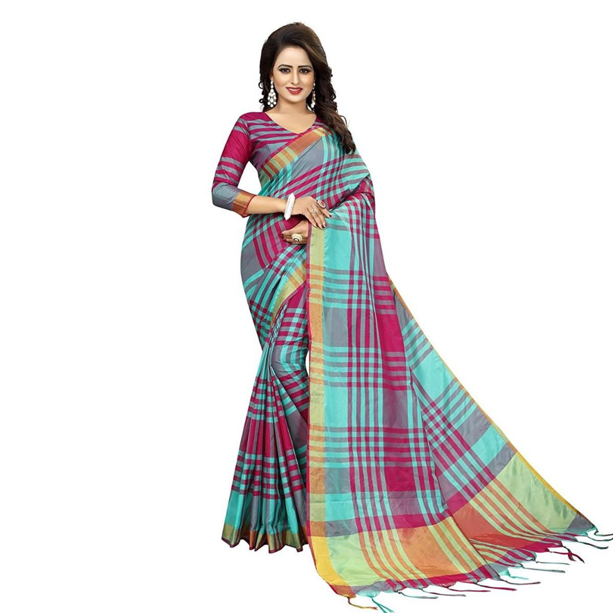 Pink-Green Festive Wear Art Silk Saree