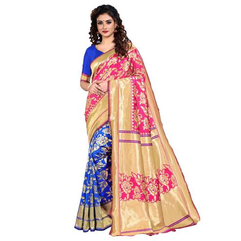 Vbuyz - Women's Pink Colored Festive Wear Woven Silk Saree