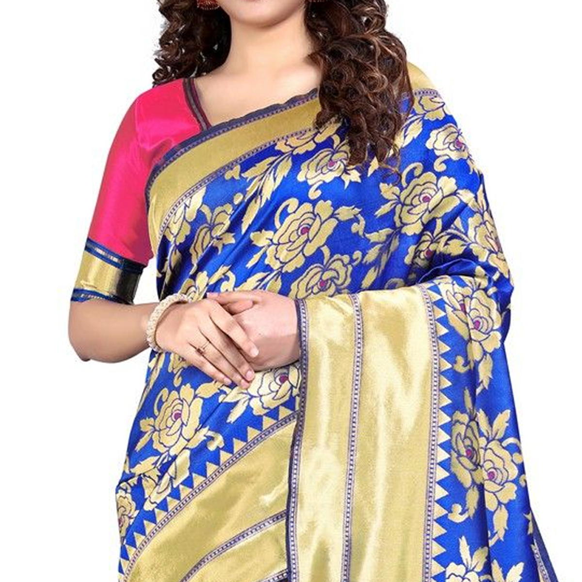 Vbuyz - Women's Blue Colored Festive Wear Woven Silk Saree