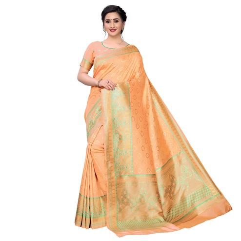 Vbuyz - Women's Light Peach Colored Festive Wear Woven Banarasi Silk Saree