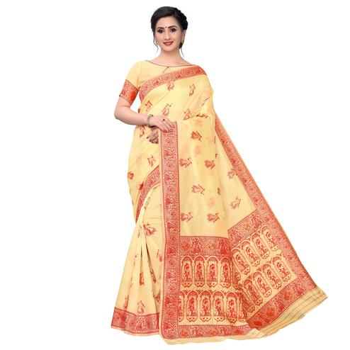 Vbuyz - Women's Light Yellow Colored Festive Wear Woven Art Silk Saree