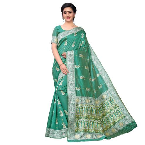Vbuyz - Women's Green Colored Festive Wear Woven Art Silk Saree