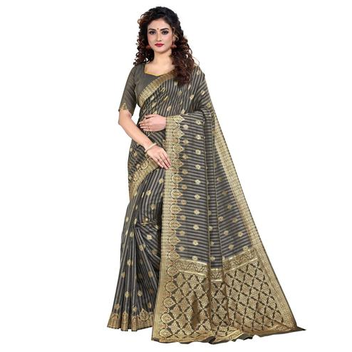 Vbuyz - Women's Grey Colored Festive Wear Striped Woven Art Silk Saree